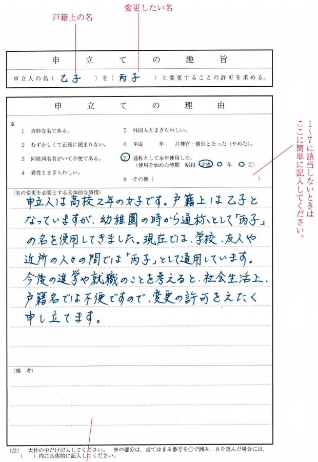 名の変更許可申立書_記載例