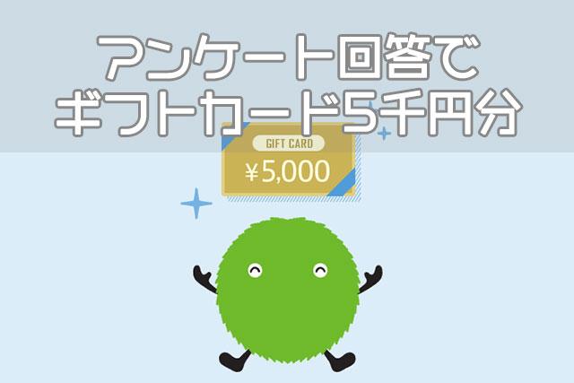 アンケート回答で ギフトカード5千円分